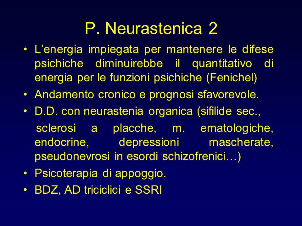 P. Neurastenica 2 Lenergia impiegata per mantenere le difese psichiche diminuirebbe il quantitativo di energia per le funzioni psichiche (Fenichel) An
