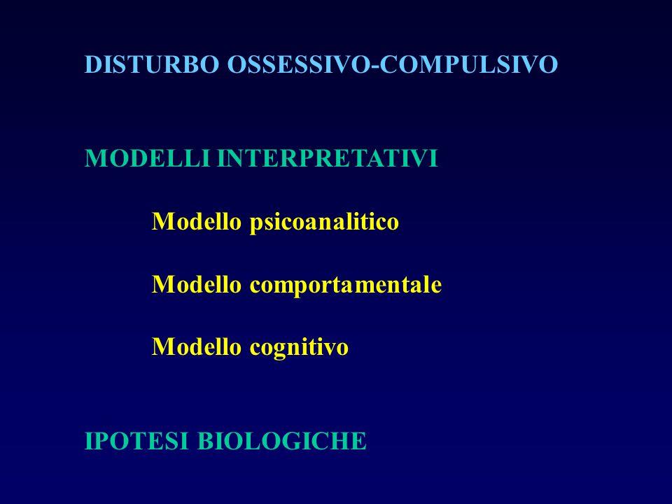 DISTURBO OSSESSIVO-COMPULSIVO MODELLI INTERPRETATIVI Modello psicoanalitico Modello comportamentale Modello cognitivo IPOTESI BIOLOGICHE