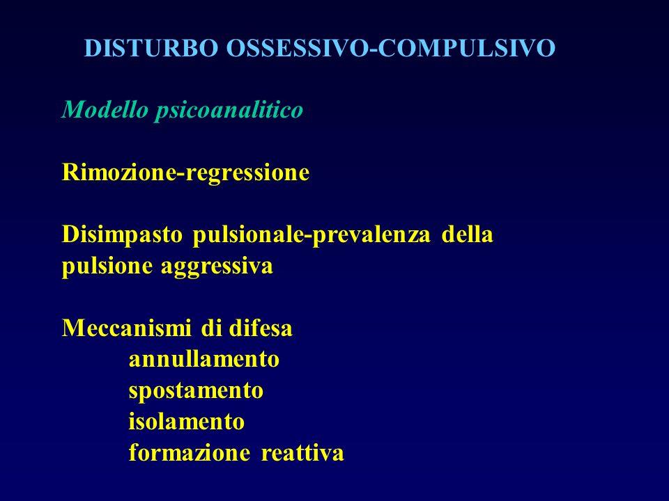 DISTURBO OSSESSIVO-COMPULSIVO Modello psicoanalitico Rimozione-regressione Disimpasto pulsionale-prevalenza della pulsione aggressiva Meccanismi di di