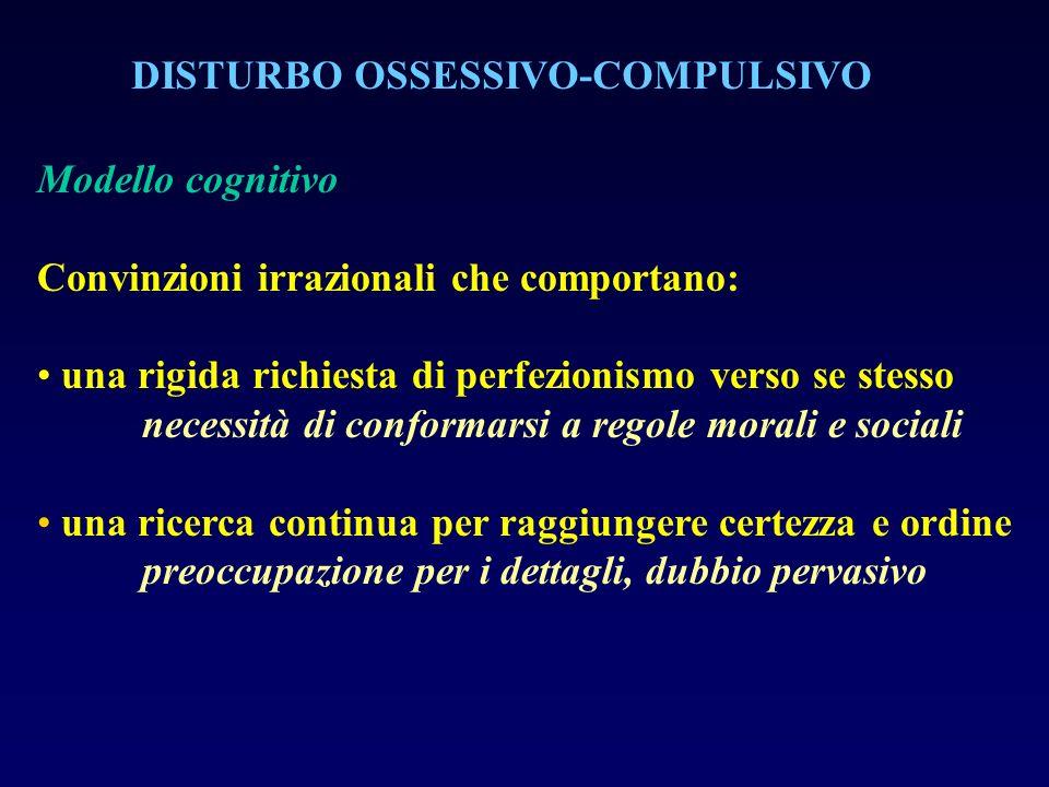 DISTURBO OSSESSIVO-COMPULSIVO Modello cognitivo Convinzioni irrazionali che comportano: una rigida richiesta di perfezionismo verso se stesso necessit