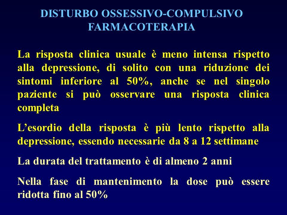 La risposta clinica usuale è meno intensa rispetto alla depressione, di solito con una riduzione dei sintomi inferiore al 50%, anche se nel singolo pa