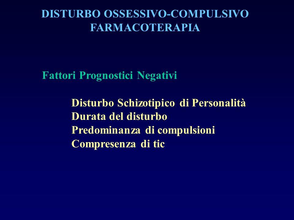 DISTURBO OSSESSIVO-COMPULSIVO FARMACOTERAPIA Fattori Prognostici Negativi Disturbo Schizotipico di Personalità Durata del disturbo Predominanza di com