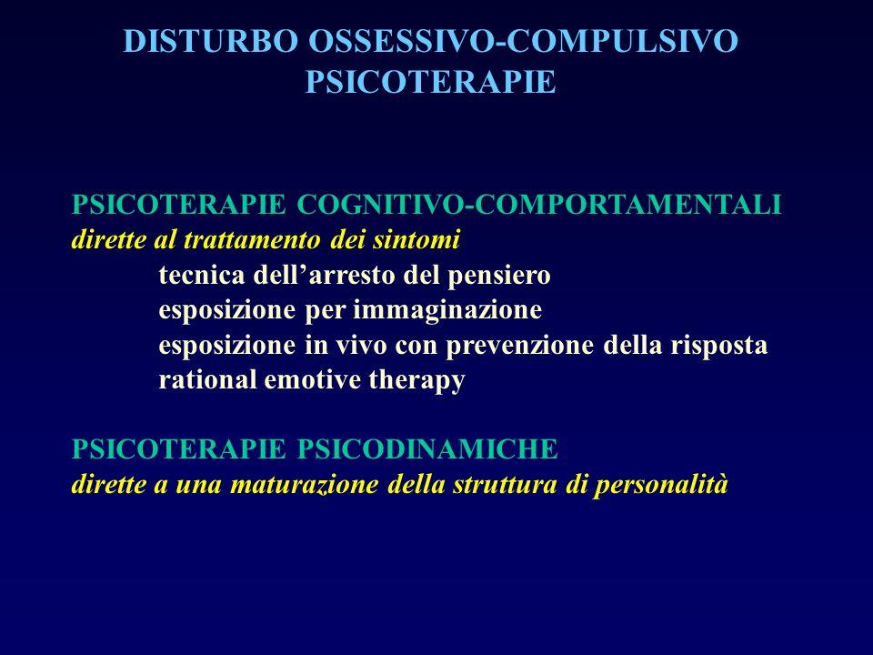 DISTURBO OSSESSIVO-COMPULSIVO PSICOTERAPIE PSICOTERAPIE COGNITIVO-COMPORTAMENTALI dirette al trattamento dei sintomi tecnica dellarresto del pensiero