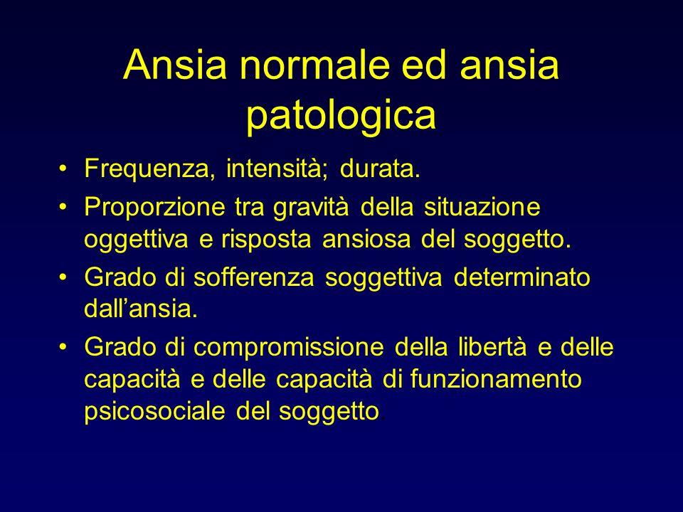 Ansia normale ed ansia patologica Frequenza, intensità; durata. Proporzione tra gravità della situazione oggettiva e risposta ansiosa del soggetto. Gr