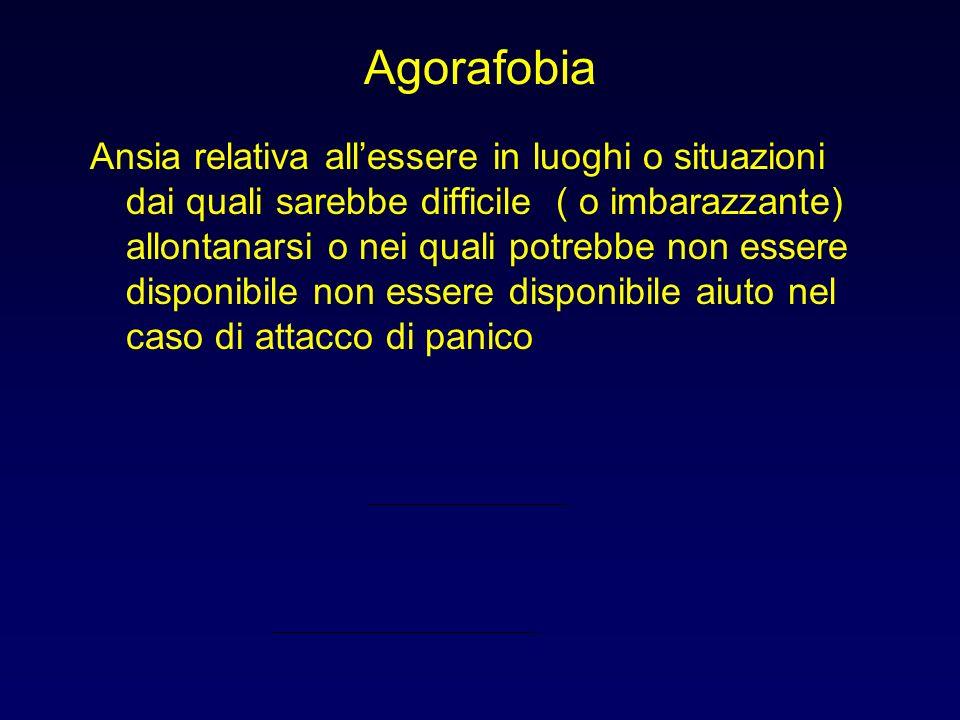 Agorafobia Ansia relativa allessere in luoghi o situazioni dai quali sarebbe difficile ( o imbarazzante) allontanarsi o nei quali potrebbe non essere