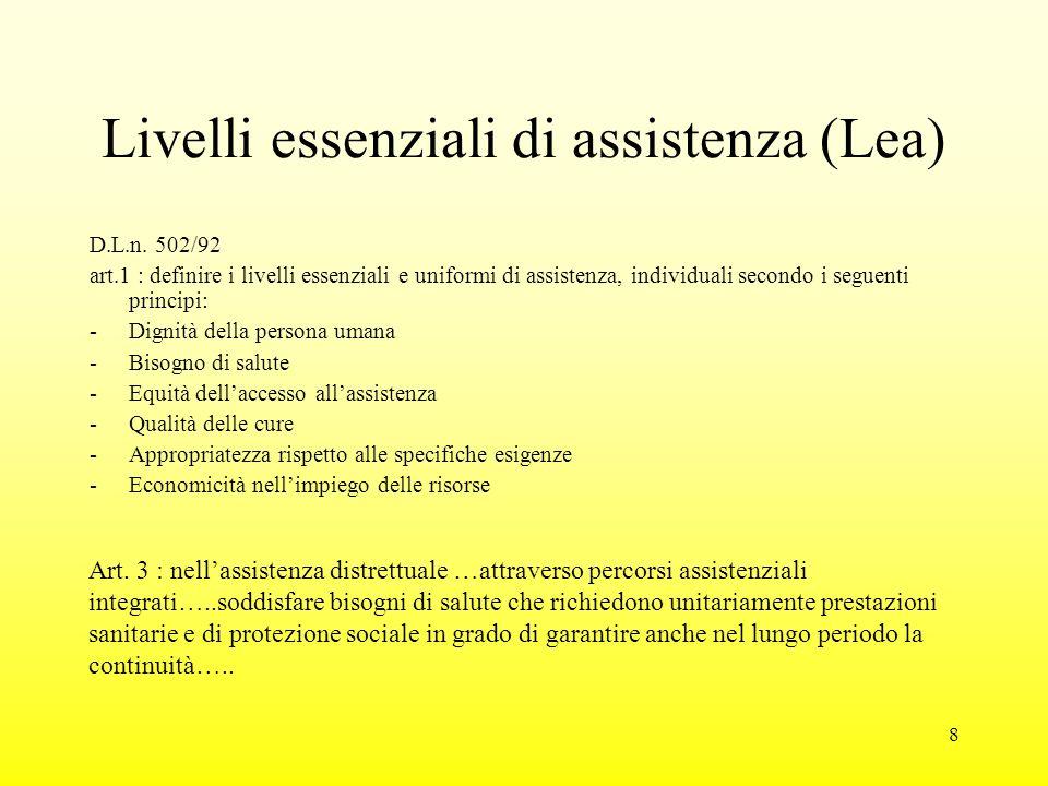 8 Livelli essenziali di assistenza (Lea) D.L.n.