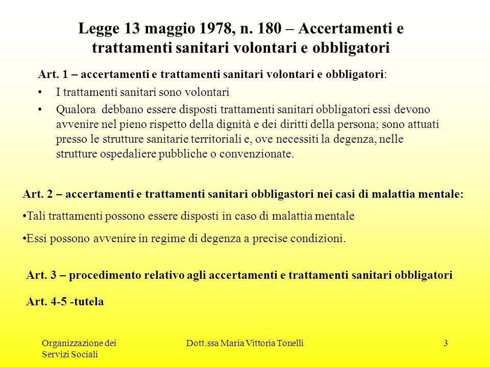 Organizzazione dei Servizi Sociali Dott.ssa Maria Vittoria Tonelli4 Segue L.180/78 Art.