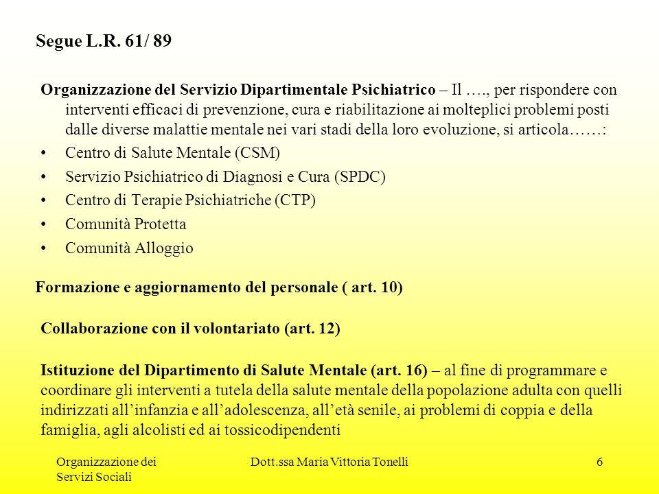 Organizzazione dei Servizi Sociali Dott.ssa Maria Vittoria Tonelli6 Segue L.R.