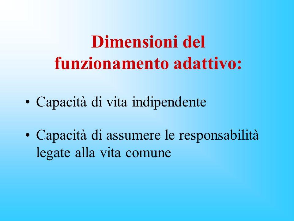 Dimensioni del funzionamento adattivo: Capacità di vita indipendente Capacità di assumere le responsabilità legate alla vita comune