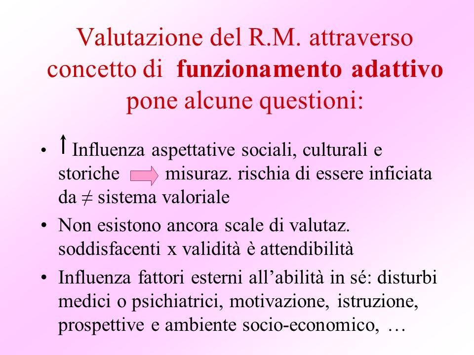 Valutazione del R.M. attraverso concetto di funzionamento adattivo pone alcune questioni: Influenza aspettative sociali, culturali e storiche misuraz.