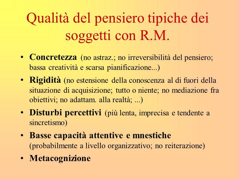 Qualità del pensiero tipiche dei soggetti con R.M. Concretezza (no astraz.; no irreversibilità del pensiero; bassa creatività e scarsa pianificazione.