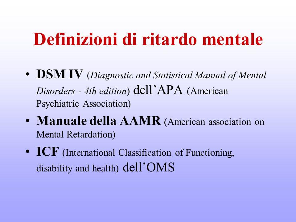 Definizioni di ritardo mentale DSM IV (Diagnostic and Statistical Manual of Mental Disorders - 4th edition) dellAPA (American Psychiatric Association)