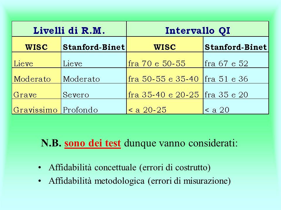 N.B. sono dei test dunque vanno considerati: Affidabilità concettuale (errori di costrutto) Affidabilità metodologica (errori di misurazione)