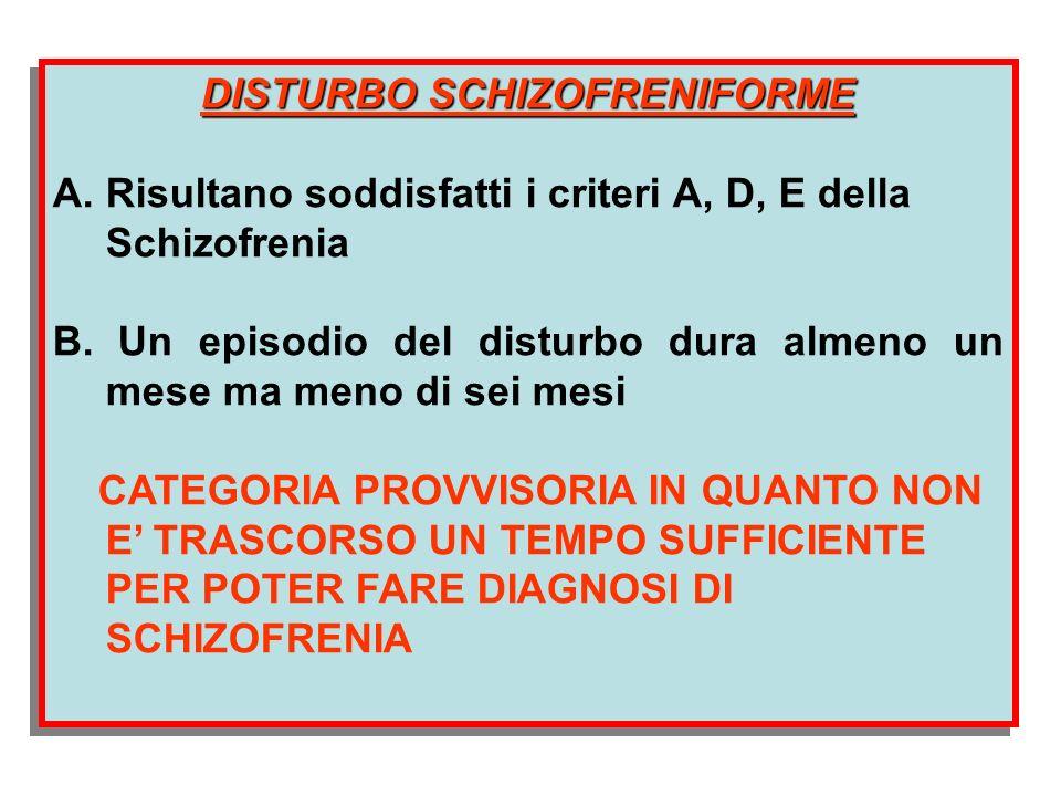 DISTURBO SCHIZOFRENIFORME A. Risultano soddisfatti i criteri A, D, E della Schizofrenia B. Un episodio del disturbo dura almeno un mese ma meno di sei