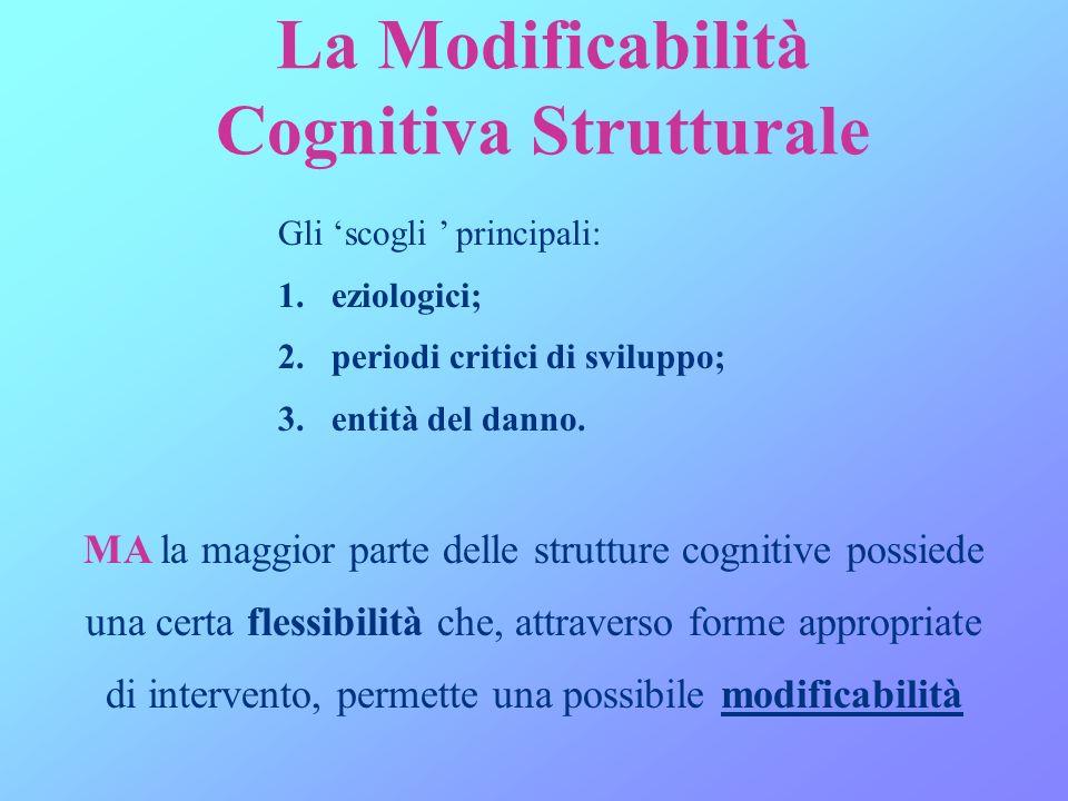 La Modificabilità Cognitiva Strutturale Gli scogli principali: 1.eziologici; 2.periodi critici di sviluppo; 3.entità del danno. MA la maggior parte de