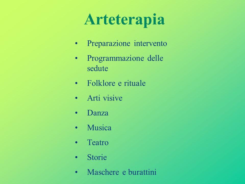 Arteterapia Preparazione intervento Programmazione delle sedute Folklore e rituale Arti visive Danza Musica Teatro Storie Maschere e burattini