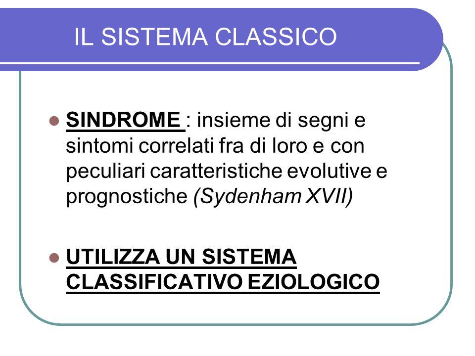 IL SISTEMA CLASSICO SINDROME : insieme di segni e sintomi correlati fra di loro e con peculiari caratteristiche evolutive e prognostiche (Sydenham XVI