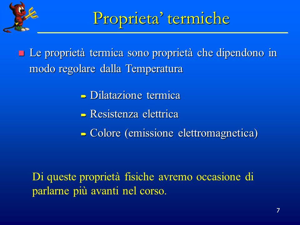 7 Proprieta termiche Dilatazione termica Dilatazione termica Resistenza elettrica Resistenza elettrica Colore (emissione elettromagnetica) Colore (emi