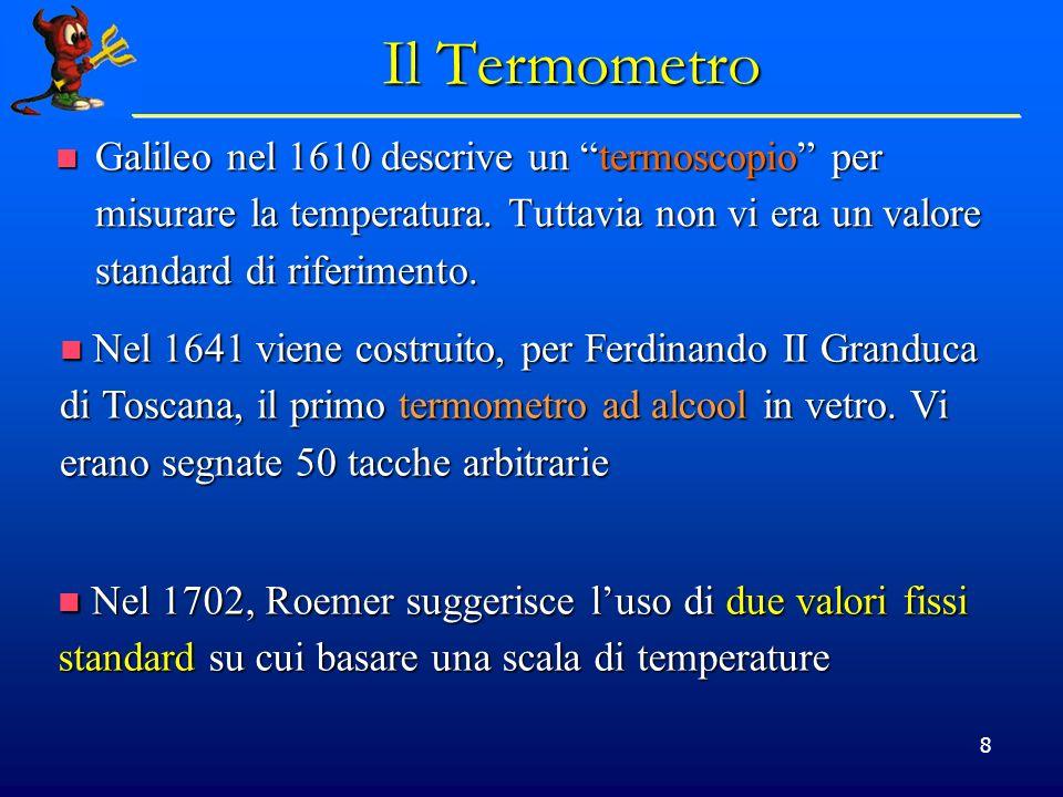 9 Scale di Temperatura Gabriel Daniel Fahrenheit nel 1724 inventa il termometro a mercurio (che possiede una grande e regolare espansione termica) Gabriel Daniel Fahrenheit nel 1724 inventa il termometro a mercurio (che possiede una grande e regolare espansione termica) I due punti fissi sono I due punti fissi sono 0:la temperatura di una miscela di cloruro dammonio e ghiaccio 0:la temperatura di una miscela di cloruro dammonio e ghiaccio 100: la temperatura di un corpo umano in salute 100: la temperatura di un corpo umano in salute In seguito Fahrenheit modificò la scala in modo tale che la temperatura di fusione del ghiaccio fosse 32 °F e il punto di bollizione dellacqua 212 °F In seguito Fahrenheit modificò la scala in modo tale che la temperatura di fusione del ghiaccio fosse 32 °F e il punto di bollizione dellacqua 212 °F