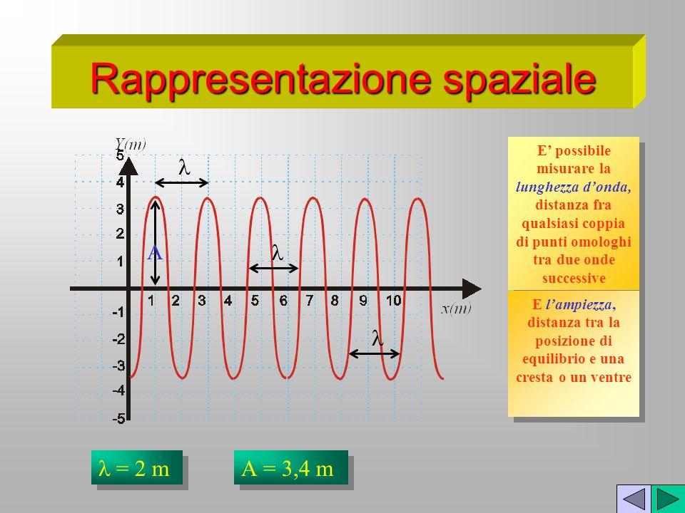 Rappresentazione spaziale In una rappresentazione spaziale il grafico rappresenta il profilo dellonda come se essa fosse fotografata attraverso la par