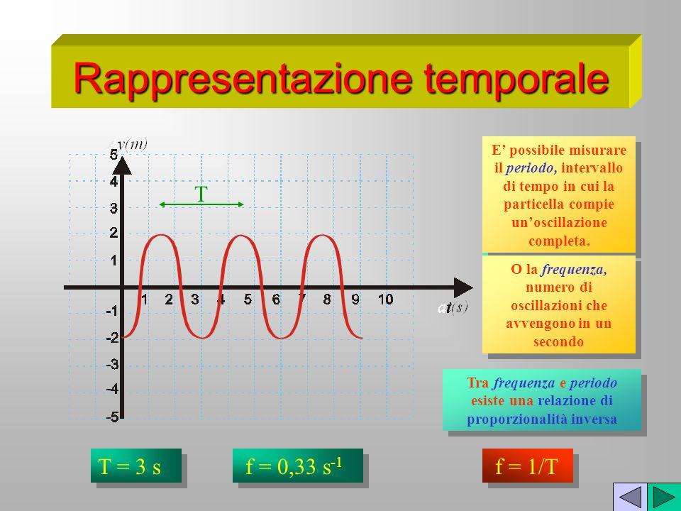 Rappresentazione temporale Si rappresenta loscillazione di una particella, lungo lasse delle y, con lo scorrere del tempo. T E possibile misurare il p