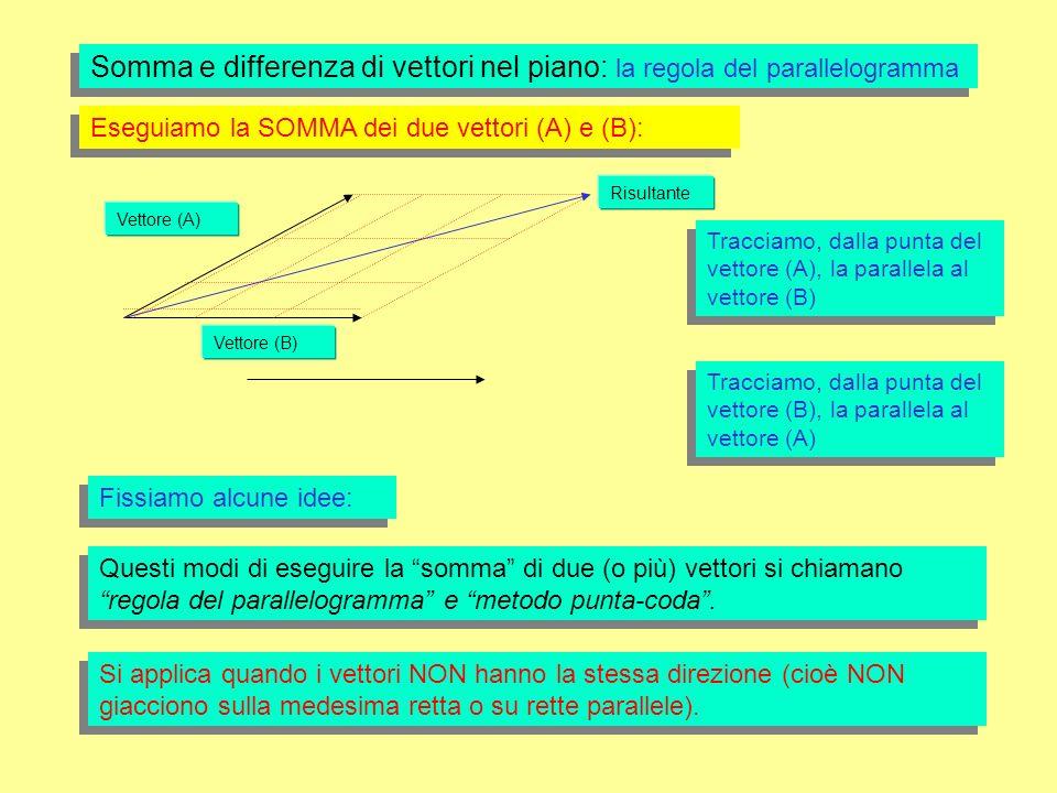 Vettore (A) Vettore (B) Risultante Somma e differenza di vettori nel piano: la regola del parallelogramma Eseguiamo la SOMMA dei due vettori (A) e (B): Fissiamo alcune idee: Questi modi di eseguire la somma di due (o più) vettori si chiamano regola del parallelogramma e metodo punta-coda.