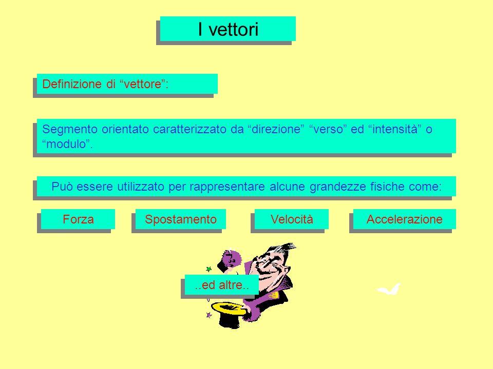 I vettori Definizione di vettore: Segmento orientato caratterizzato da direzione verso ed intensità o modulo. Può essere utilizzato per rappresentare