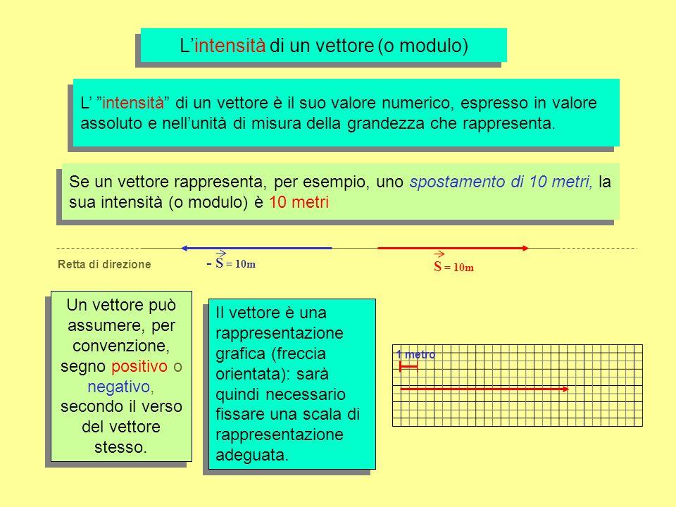 Lintensità di un vettore (o modulo) L intensità di un vettore è il suo valore numerico, espresso in valore assoluto e nellunità di misura della grandezza che rappresenta.