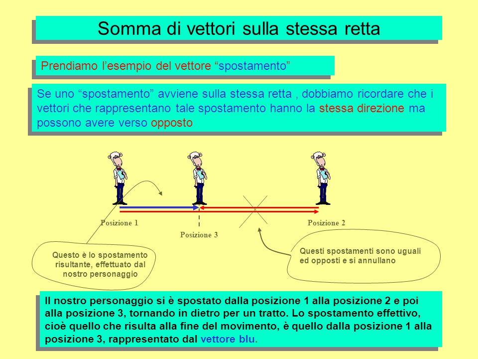 Somma di vettori sulla stessa retta Prendiamo lesempio del vettore spostamento Se uno spostamento avviene sulla stessa retta, dobbiamo ricordare che i vettori che rappresentano tale spostamento hanno la stessa direzione ma possono avere verso opposto Posizione 1 Posizione 3 Posizione 2 Questi spostamenti sono uguali ed opposti e si annullano Questo è lo spostamento risultante, effettuato dal nostro personaggio Il nostro personaggio si è spostato dalla posizione 1 alla posizione 2 e poi alla posizione 3, tornando in dietro per un tratto.