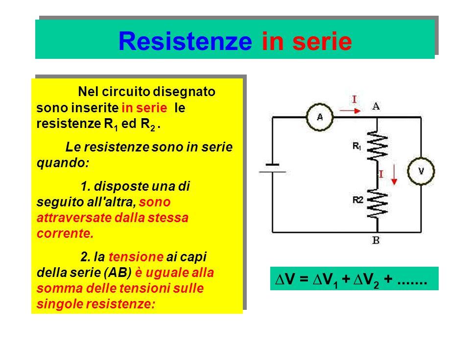 Resistenze in serie ai capi (AB) della serie delle due resistenze, è quindi applicata una certa tensione V Per la legge di Ohm la resistenza totale (equivalente) è: Per la legge di Ohm la resistenza totale (equivalente) è: La corrente che circola nelle due resistenze è I.