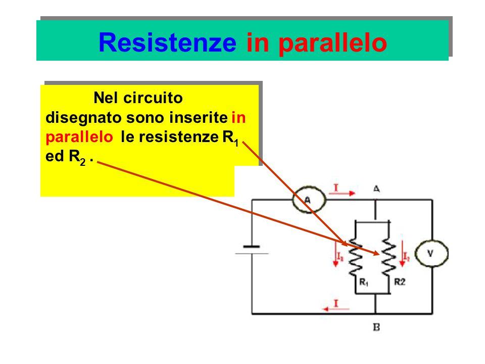 Resistenze in parallelo le resistenze hanno gli estremi in comune (punti A e B) V 1 = V 2 V1V1 V2V2 e sono sottoposte alla stessa tensione (quella erogata dal generatore)