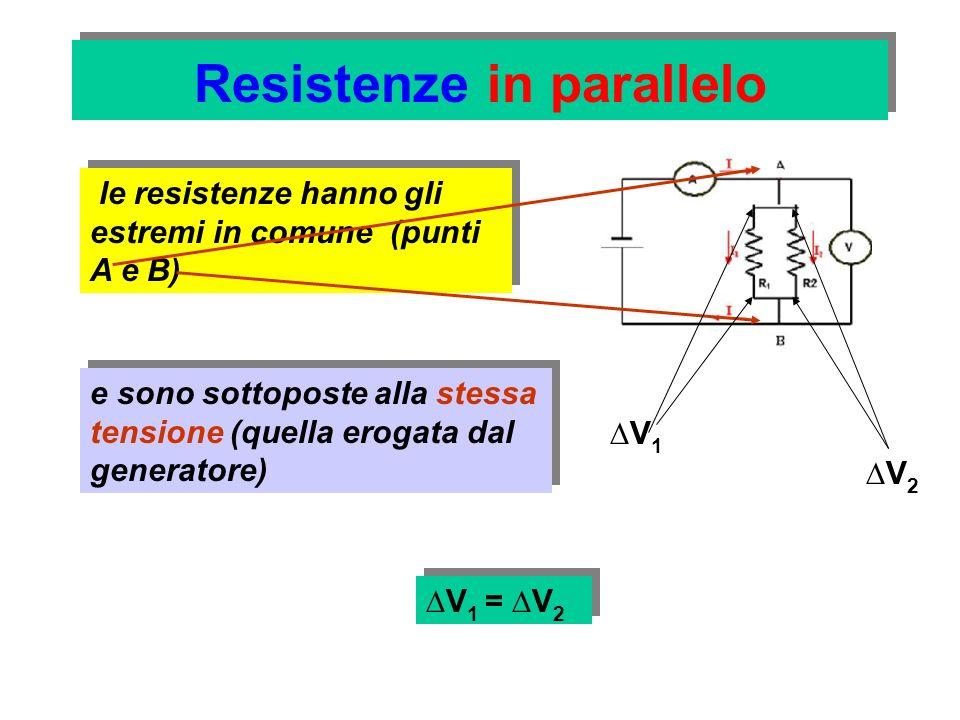 Resistenze in parallelo Possiamo osservare che la corrente, che ha intensità I, giungendo nel capo A si distribuisce in due rami (sono le due resistenze che partono da A ), assumendo i valori I 1 e I 2, con: I = I 1 + I 2