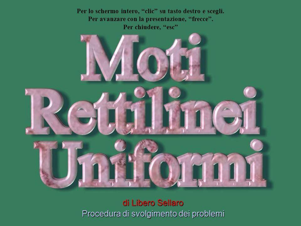 Moti rettilinei uniformi Svolgimento problemi 1° domanda: La posizione corrispondente allistante t 1 = 24 s Risposta: Per t 1 = 24 s s 1 = 4 m