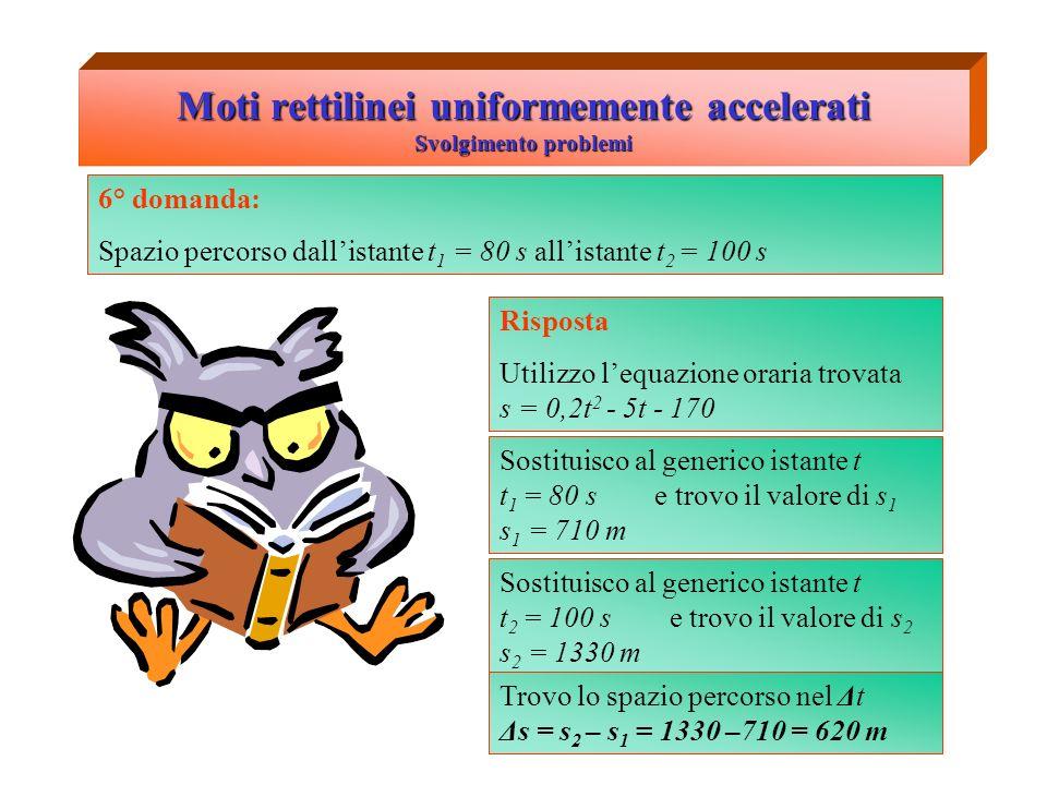 Moti rettilinei uniformemente accelerati Svolgimento problemi 6° domanda: Spazio percorso dallistante t 1 = 80 s allistante t 2 = 100 s Sostituisco al
