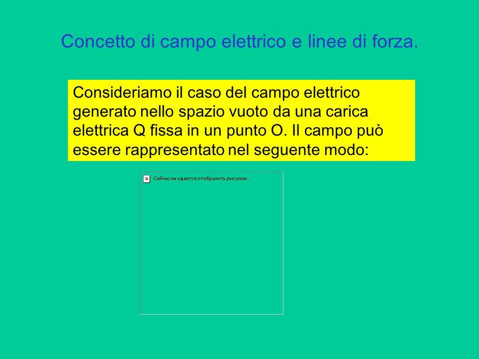 Concetto di campo elettrico e linee di forza.Le linee disegnate si chiamano linee di forza.