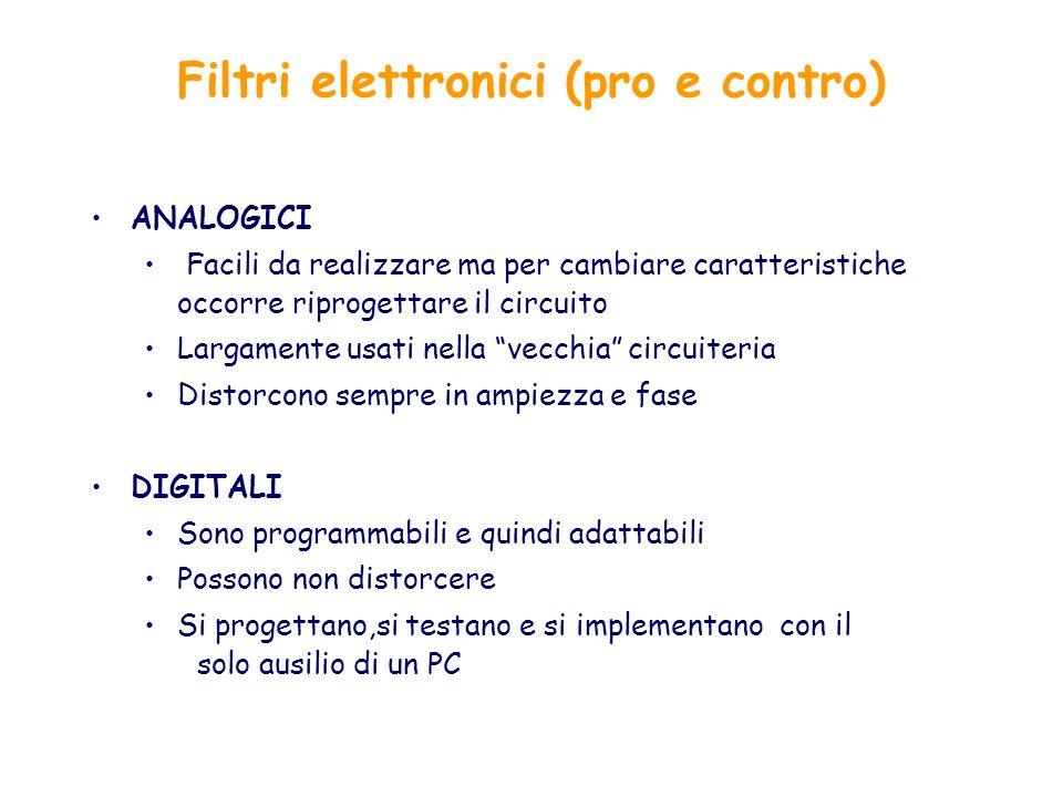 Filtri elettronici (pro e contro) ANALOGICI Facili da realizzare ma per cambiare caratteristiche occorre riprogettare il circuito Largamente usati nel
