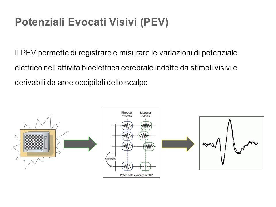 Il PEV permette di registrare e misurare le variazioni di potenziale elettrico nellattività bioelettrica cerebrale indotte da stimoli visivi e derivab
