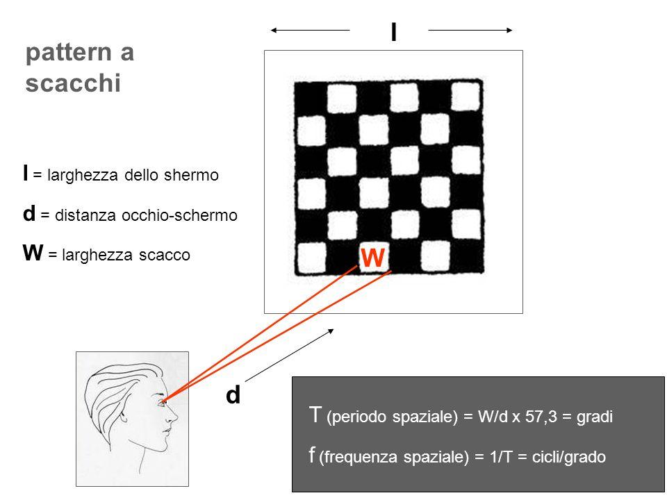 pattern a scacchi l d W l = larghezza dello shermo d = distanza occhio-schermo W = larghezza scacco T (periodo spaziale) = W/d x 57,3 = gradi f (frequ