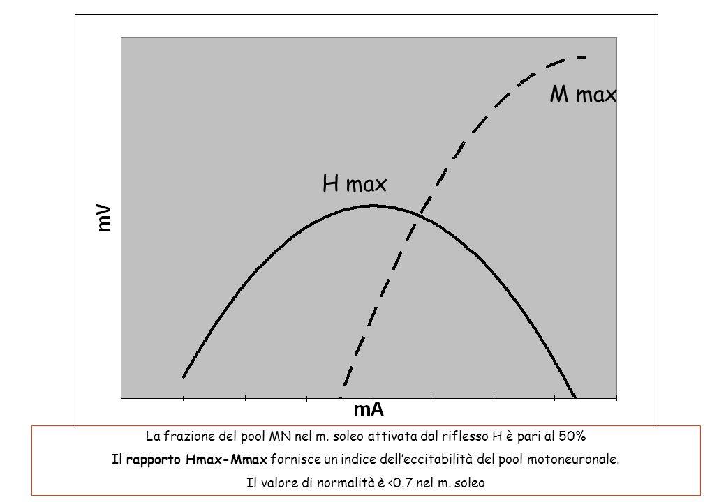 H max M max La frazione del pool MN nel m. soleo attivata dal riflesso H è pari al 50% Il rapporto Hmax-Mmax fornisce un indice delleccitabilità del p