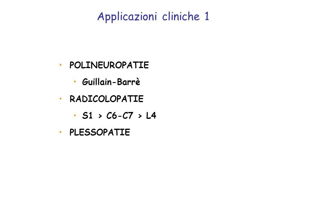POLINEUROPATIE Guillain-Barrè RADICOLOPATIE S1 > C6-C7 > L4 PLESSOPATIE Applicazioni cliniche 1