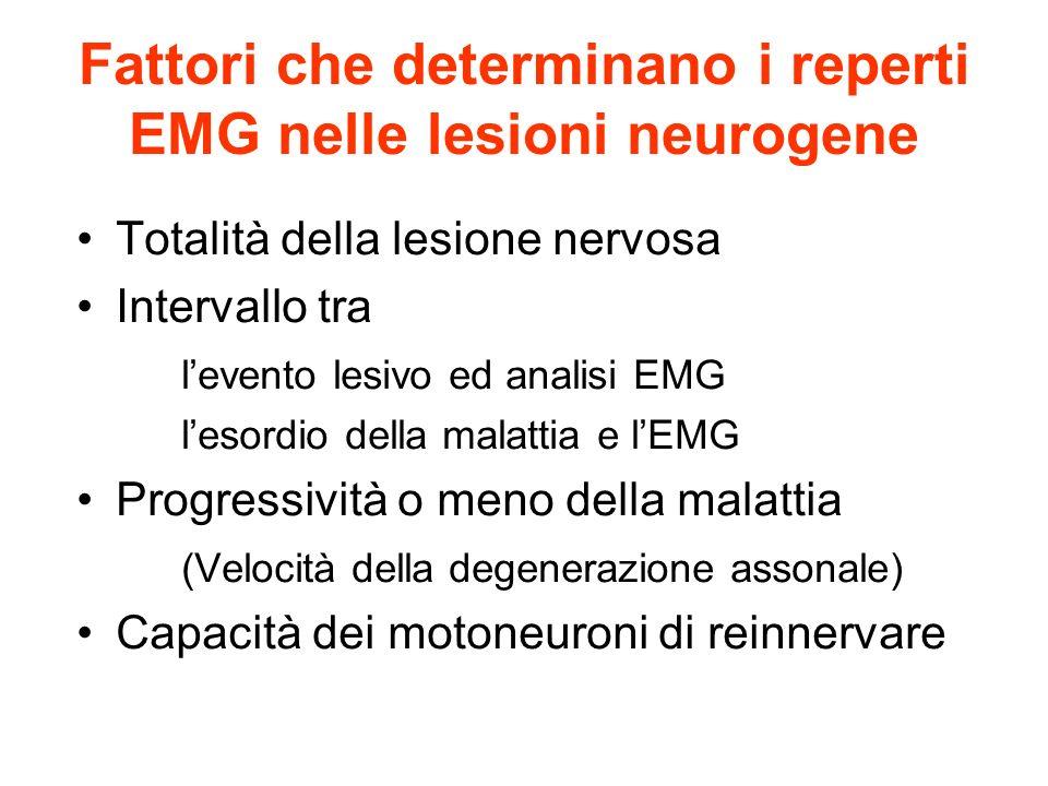 Fattori che determinano i reperti EMG nelle lesioni neurogene Totalità della lesione nervosa Intervallo tra levento lesivo ed analisi EMG lesordio della malattia e lEMG Progressività o meno della malattia (Velocità della degenerazione assonale) Capacità dei motoneuroni di reinnervare
