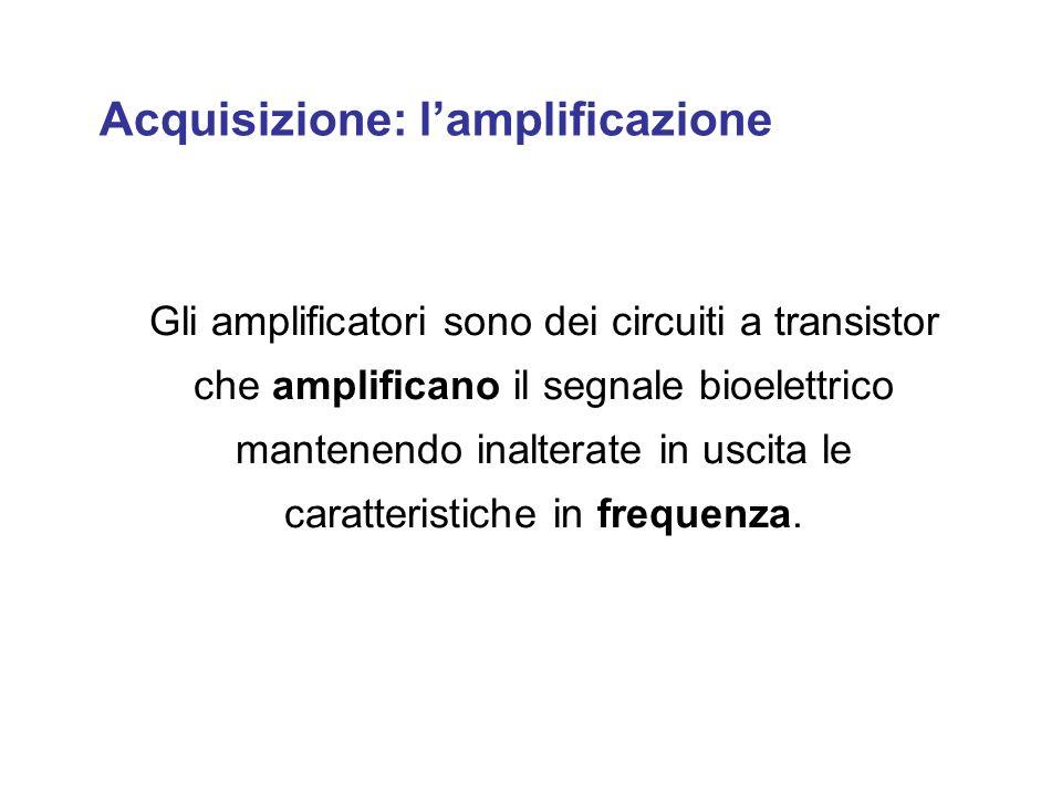 Acquisizione: lamplificazione Gli amplificatori sono dei circuiti a transistor che amplificano il segnale bioelettrico mantenendo inalterate in uscita