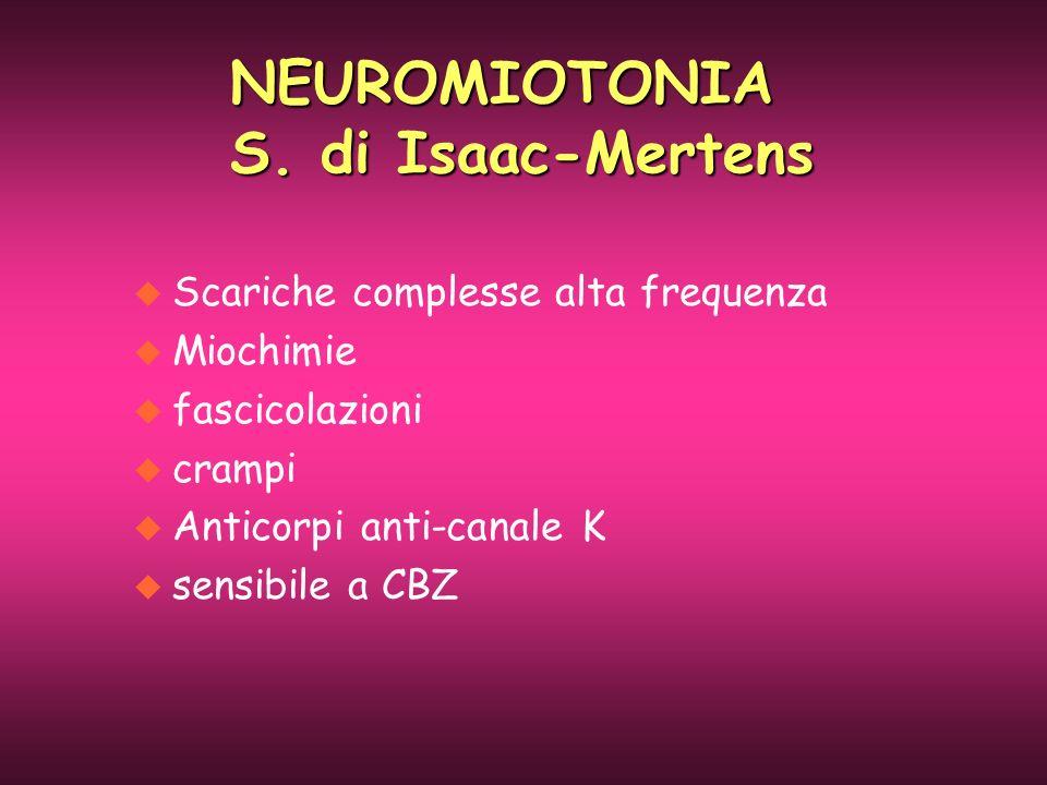 u Scariche complesse alta frequenza u Miochimie u fascicolazioni u crampi u Anticorpi anti-canale K u sensibile a CBZ NEUROMIOTONIA S. di Isaac-Merten