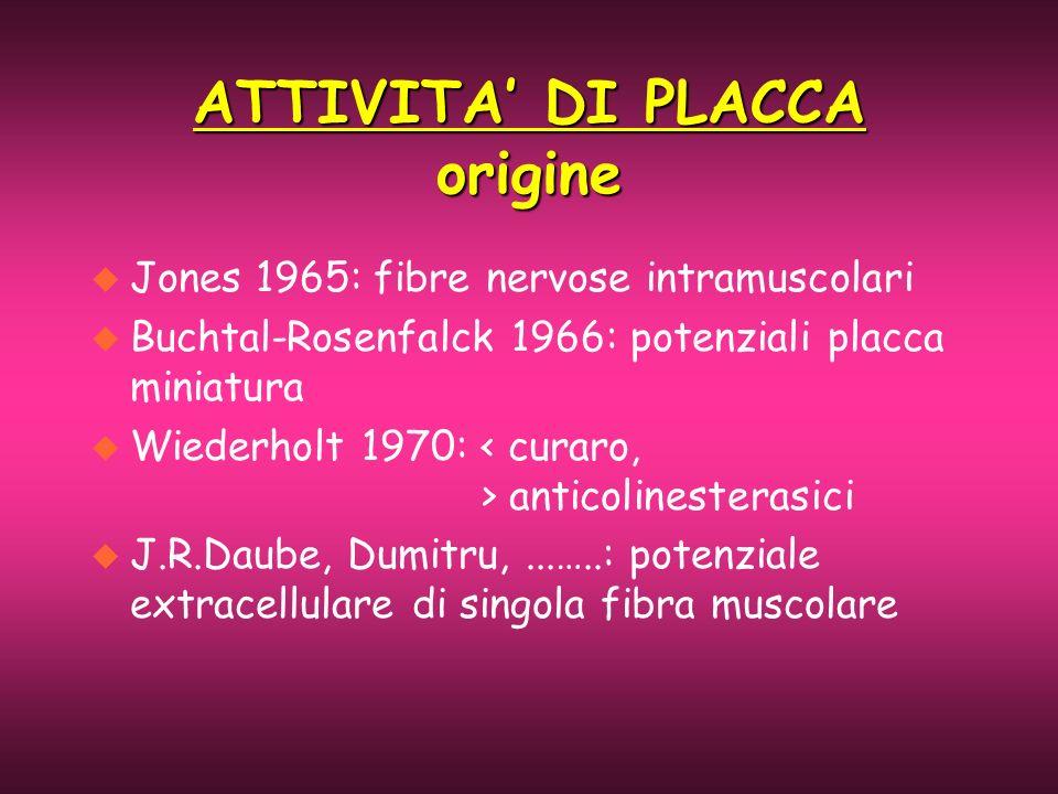 ATTIVITA DI PLACCA origine u Jones 1965: fibre nervose intramuscolari u Buchtal-Rosenfalck 1966: potenziali placca miniatura u Wiederholt 1970: antico