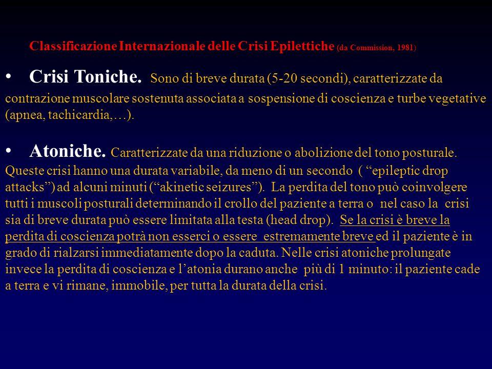 Classificazione Internazionale delle Crisi Epilettiche (da Commission, 1981) Crisi Toniche. Sono di breve durata (5-20 secondi), caratterizzate da con