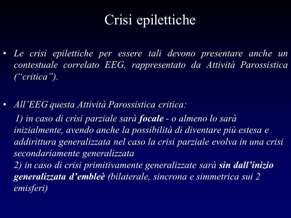 LaCrisi epilettiche Le crisi epilettiche per essere tali devono presentare anche un contestuale correlato EEG, rappresentato da Attività Parossistica