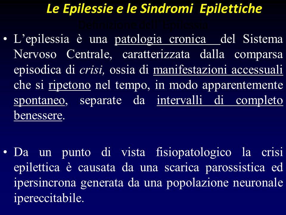 Le Epilessie e le Sindromi Epilettiche Definizione dellEpilessia Lepilessia è una patologia cronica del Sistema Nervoso Centrale, caratterizzata dalla