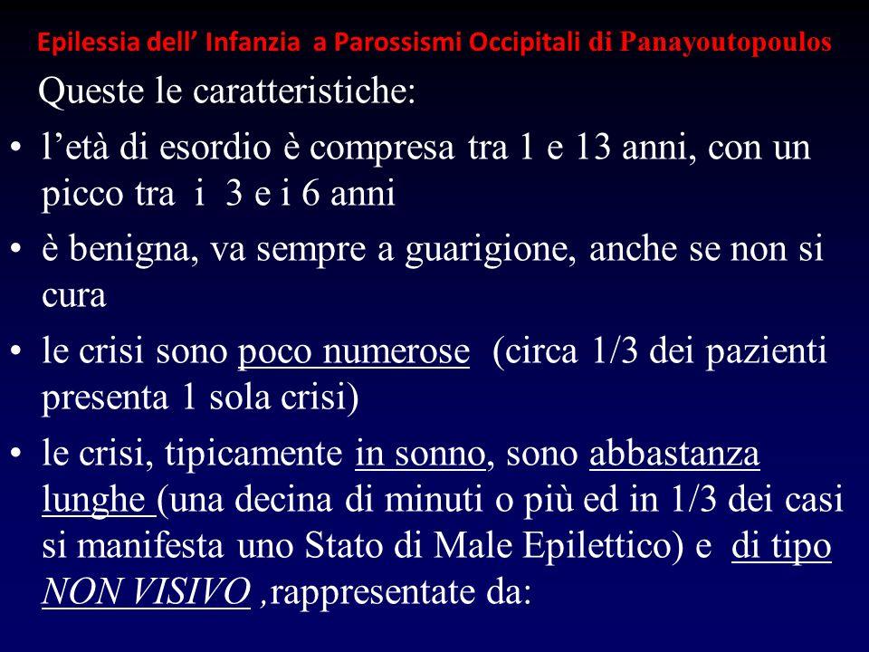 Epilessia dell Infanzia a Parossismi Occipitali di Panayoutopoulos Queste le caratteristiche: letà di esordio è compresa tra 1 e 13 anni, con un picco