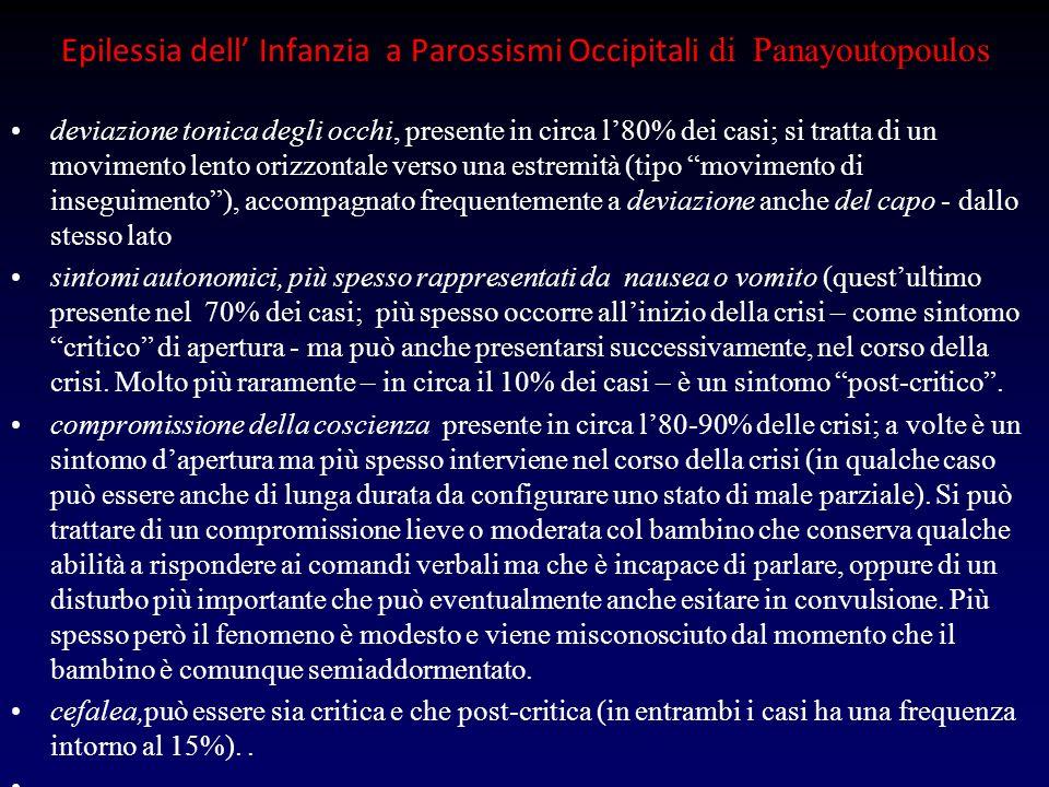 Epilessia dell Infanzia a Parossismi Occipitali di Panayoutopoulos deviazione tonica degli occhi, presente in circa l80% dei casi; si tratta di un mov
