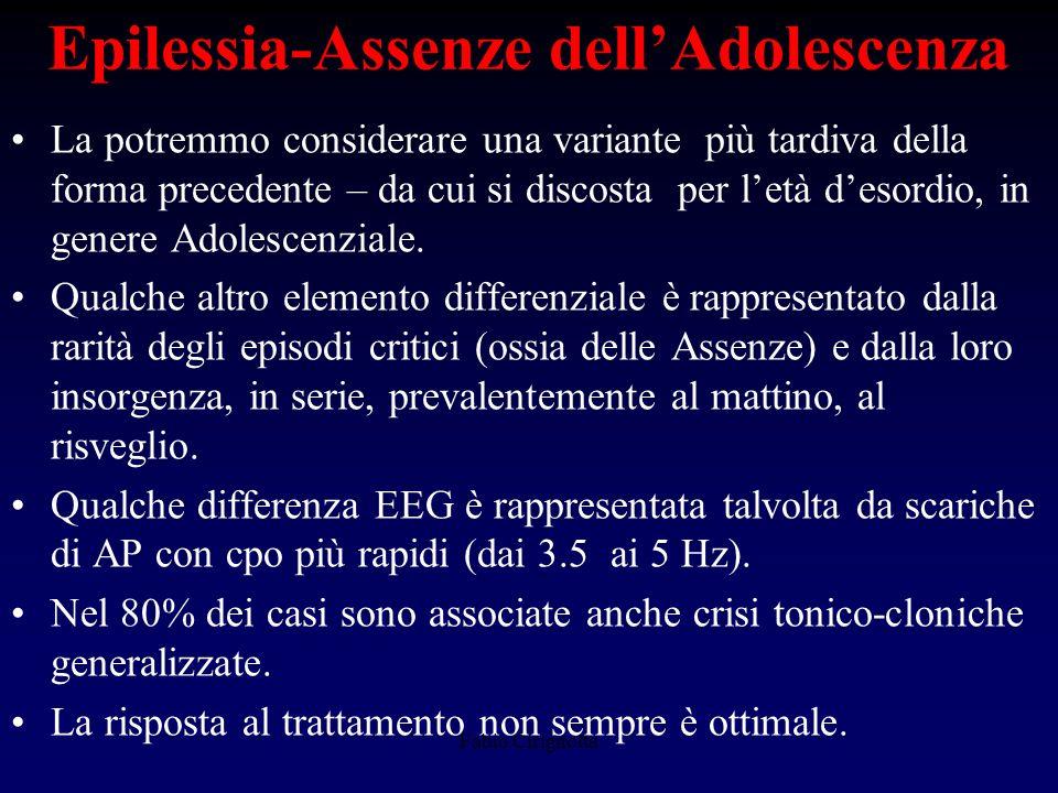 Epilessia-Assenze dellAdolescenza La potremmo considerare una variante più tardiva della forma precedente – da cui si discosta per letà desordio, in g